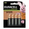 Duracell Rechargeable AA 2500mAh Batteries [Pack 4]   Comes pre-charged and ready to use   Guaranteed to last 5 years   Fusion Office UK