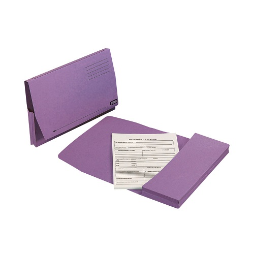 Elba Full Flap Document Wallets Purple Foolscap 100090253 [Pack 50] | Made from 100% recycled material & are recyclable | Fusion Office UK