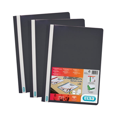Elba Report Folders A4 Black 400055033 [Pack 50]   Made from strong polypropylene, they have a clear front cover   Fusion Office UK