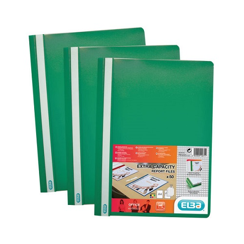 Elba Report Folders A4 Green 400055031 [Pack 50]   Made from strong polypropylene, they have a clear front cover   Fusion Office UK