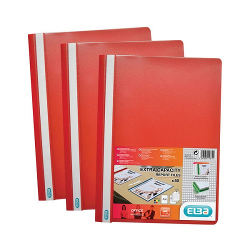 Elba Report Folders A4 Red 400055034 [Pack 50] | Made from strong polypropylene, they have a clear front cover | Fusion Office UK