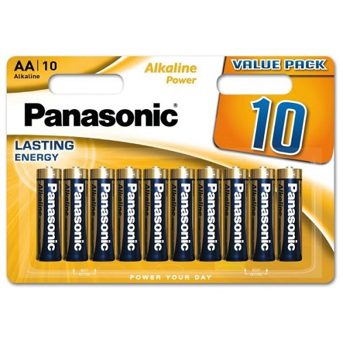 Panasonic AA Batteries Bronze Alkaline Power 1.5v LR6 MN1500 LR6APB-10BW [Pack 10]   Everyday Battery   Fusion Office