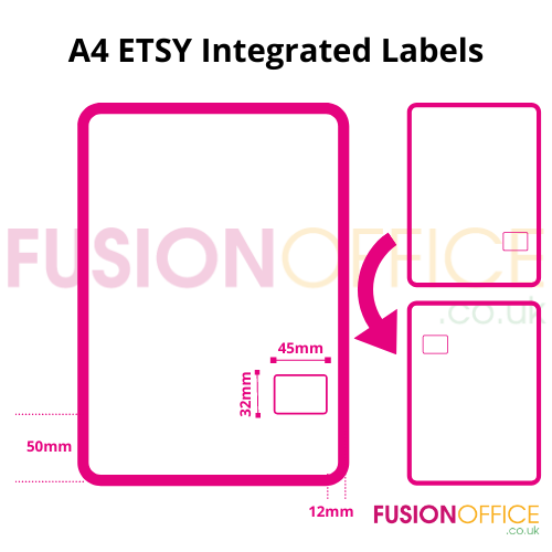 ETSY Integrated Labels Paper A4 [1000] | 1 removable self adhesive single label allowing for return | Fusion Office