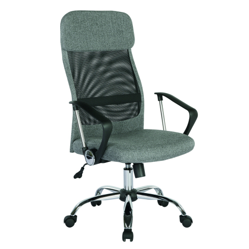 Chord high back operators chair with mesh back and headrest Grey DAMS CHO300T1-G | Grey fabric headrest | Fusion Office