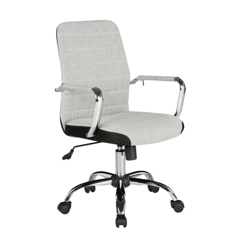 Tempo Grey fabric operators chair High Back with mesh trim DAMS TEM300T1-G | Classic ribbed grey fabric design | Fusion Office