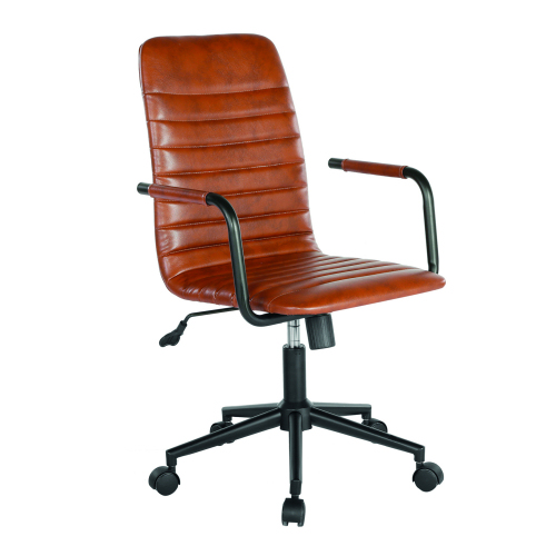 Beat Medium Back Faux Leather Operators Chair Brown DAMS BEA300T1-BR | Executive Seating | Classic ribbed design | Fusion Office