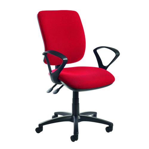 Senza high back operator chair with fixed arms Red DAMS SH43-000-RED | Asynchro mechanism, lockable seat and back | Fusion Office