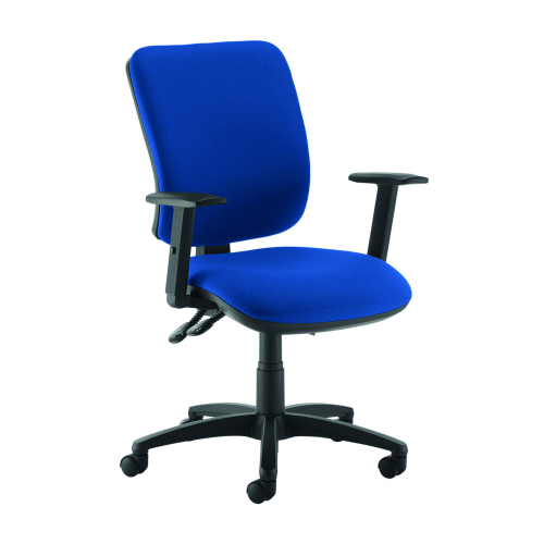 Senza high back operator chair with adjustable arms Blue DAMS SH44-000-BLU | Asynchro mechanism, lockable seat/back | Fusion Office