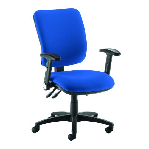 Senza high back operator chair with folding arms Blue DAMS SH46-000-BLU | Asynchro mechanism, lockable seat/back | Fusion Office