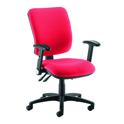 Senza high back operator chair with folding arms Red DAMS SH46-000-RED   Asynchro mechanism, lockable seat/back   Fusion Office