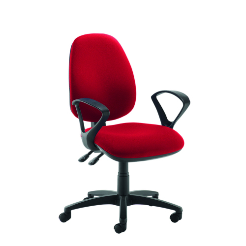 Jota high back operator chair with fixed arms Red DAMS JH43-000-RED | Asynchro mechanism, lockable seat and back | Fusion Office
