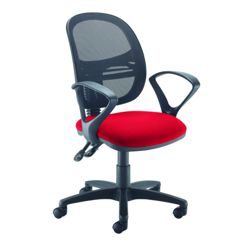 Jota Mesh medium back operators chair with fix/arms Red DAMS VMH11-000-RED | Sleek Design | Fusion Office