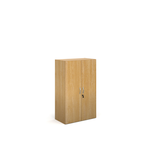 Medium Cupboard Oak 756x408x1230mm CFMCU-O | Lockable doors supplied with two keys and stylish silver curved handles | Fusion Office UK
