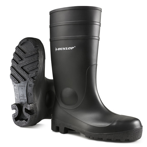 Safety Wellington Boots Size 9 EU43 Black | Dunlop Protomaster | Full Safety PVC Wellingtons | Steel Toe Cap & Mid Sole | Fusion Office