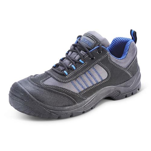 Safety Trainers Size 7 EU41 Black / Blue CF1707   200 Joule steel toe cap   Steel midsole   Shock absorber heel   Fusion Office