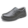 Black Slip-On Shoes Size 8 EU42 | Safety Shoes | 200 Joule steel toe cap | Shock absorber heel | Anti-Static | Fusion Office