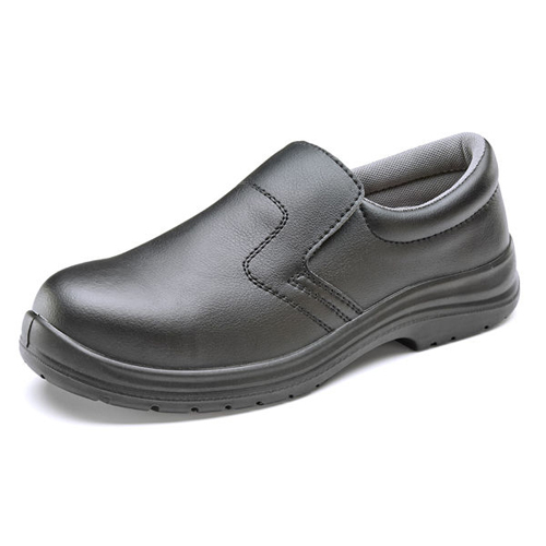 Black Slip-On Shoes Size 13 EU48   Safety Shoes   200 Joule steel toe cap   Shock absorber heel   Anti-Static   Fusion Office