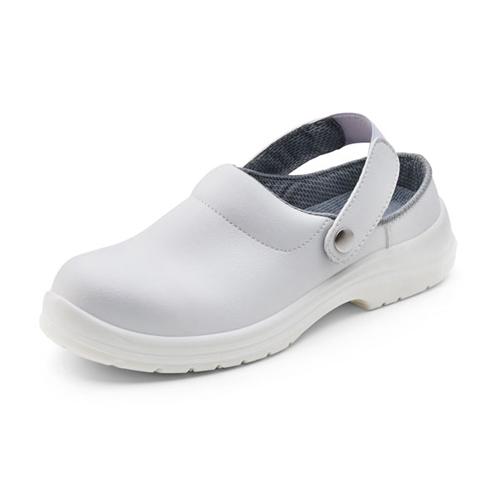 White Slippers Shoes Size 6.5 EU40 | Removable belt | 200 Joule steel toe cap | Shock absorber heel | Fusion Office