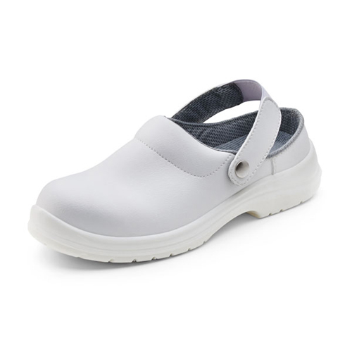 White Slippers Shoes Size 10 EU44 | Removable belt | 200 Joule steel toe cap | Shock absorber heel | Fusion Office