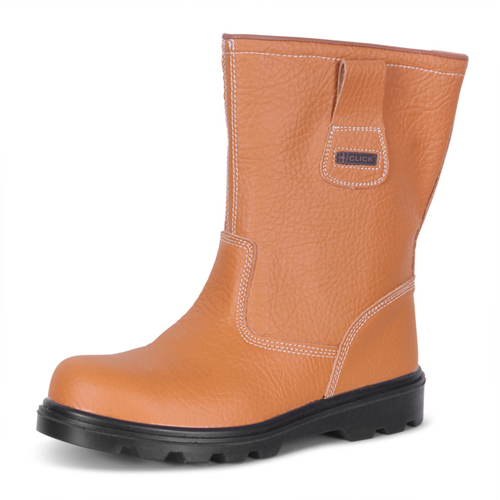 Rigger Boots Size 7 EU41 Tan | 200 Joule steel toe cap | Steel midsole protection | Shock absorber heel | Fusion Office