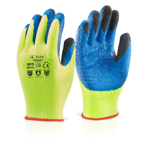 Thermal Grip Glove XXL Latex Thermo-Star Yellow [Each] | Double dip to fingers for protection | Vented back | Fusion Office