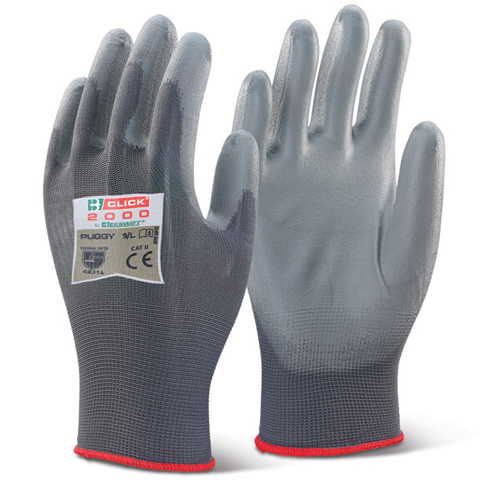 PU Coated Glove Small Grey Each | Polyurethane palm coated | Machine Knitted | Integral elasticated wrist | Fusion Office