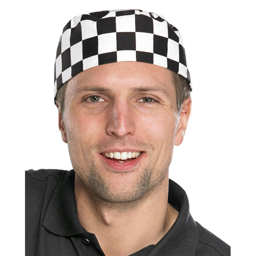 Chefs Skull Cap Black/White CCCSCBLW | 100% cotton | Comfortable fitting cap for the busy kitchen | Fusion Office