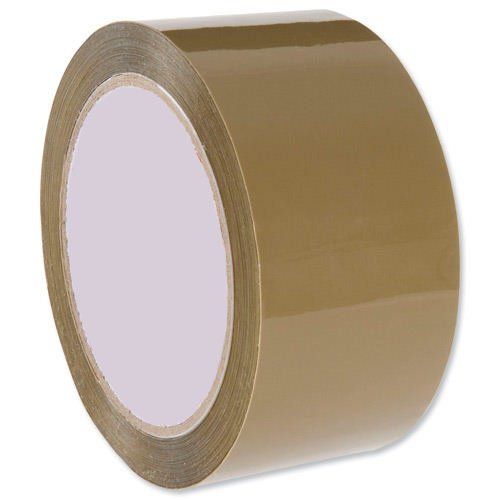 Packaging Tapes Low Noise Buff 48mm x 66m [Box 36] | Bulk Pack | Brown Polypropylene | Silent unwinding | Fusion Office