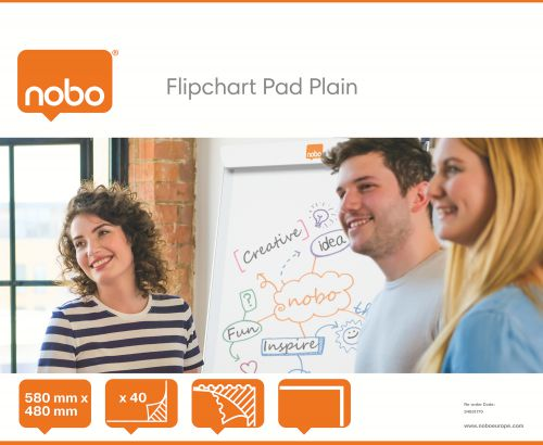 Nobo Flipchart Pad Plain B1 40 Sheets 34631170 [Pack 5] | Flipchart paper, easy to flip paper over and perforated | Fusion Office UK