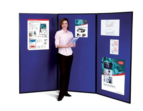 Nobo Showboard Extra 3 Panel Blue & Grey 1901710 | Lightweight, portable & highly versatile | Supplied with carry bag | Fusion Office UK