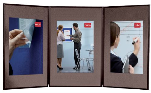 Nobo Showboard 3 Panel Blue & Grey 1900044 | Light, portable & easy to assemble | Ideal for offices, trade shows & schools | Fusion Office UK