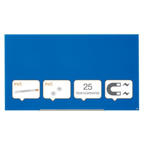 "Nobo Glassboard 1900x1000mm Blue 85"" Widescreen 1905190 | Glass magnetic whiteboard ultra-erasability | Sleek & stylish | Fusion Office UK"