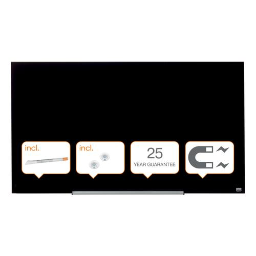 "Nobo Glassboard 1260x710mm Black 57"" Widescreen 1905181 | Glass magnetic whiteboard ultra-erasability | Sleek & stylish | Fusion Office UK"