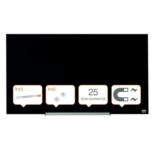 "Nobo Glassboard 1000x560mm Black 45"" Widescreen 1905180 | Glass magnetic whiteboard ultra-erasability | Sleek & stylish | Fusion Office UK"