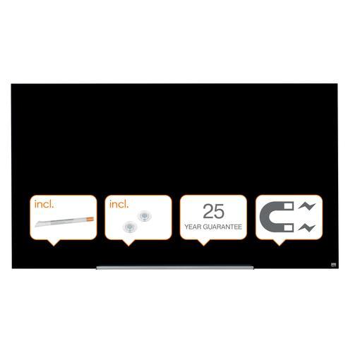 "Nobo Glassboard 1900x1000mm Black 85"" Widescreen 1905182   Glass magnetic whiteboard ultra-erasability   Sleek & stylish   Fusion Office UK"