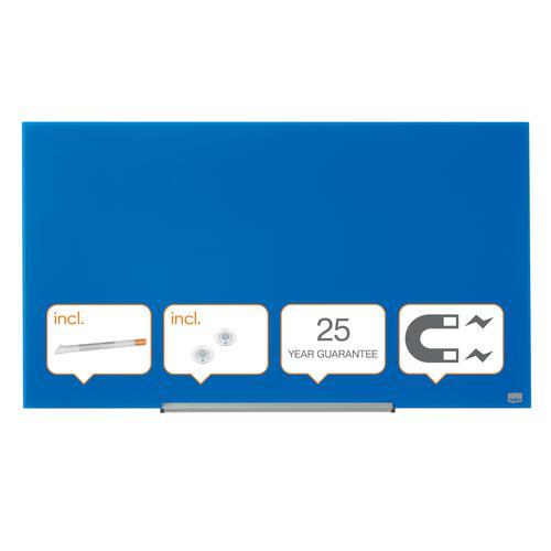 "Nobo Glassboard 1000x560mm Blue 45"" Widescreen 1905188   Glass magnetic whiteboard ultra-erasability   Sleek & stylish   Fusion Office UK"