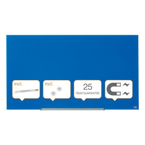 "Nobo Glassboard 1260x710mm Blue 57"" Widescreen 1905189 | Glass magnetic whiteboard ultra-erasability | Sleek & stylish | Fusion Office UK"