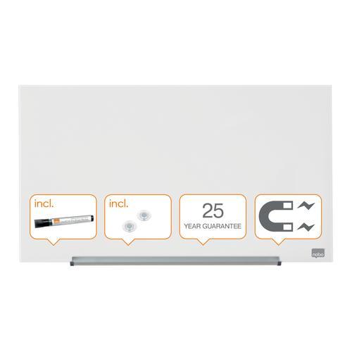 "Nobo Glassboard 680x380mm 31"" Widescreen 1905175   Glass magnetic whiteboard with ultra-erasability   Sleek & stylish   Fusion Office UK"