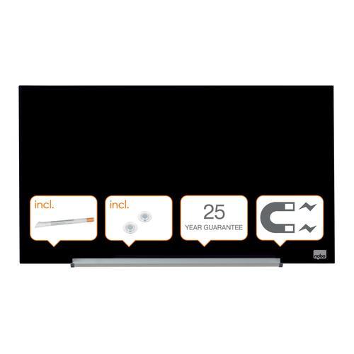 "Nobo Glassboard 680x380mm Black 31"" Widescreen 1905179 | Glass magnetic whiteboard ultra-erasability | Sleek & stylish | Fusion Office UK"