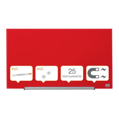 "Nobo Glassboard 680x380mm Red 31"" Widescreen 1905183 | Glass magnetic whiteboard ultra-erasability | Sleek & stylish | Fusion Office UK"