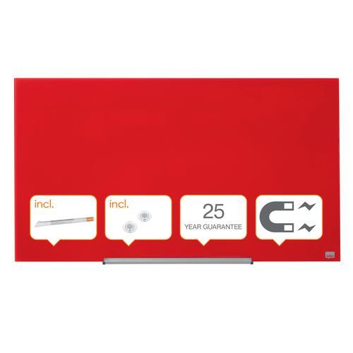 "Nobo Glassboard 1000x560mm Red 45"" Widescreen 1905184   Glass magnetic whiteboard ultra-erasability   Sleek & stylish   Fusion Office UK"