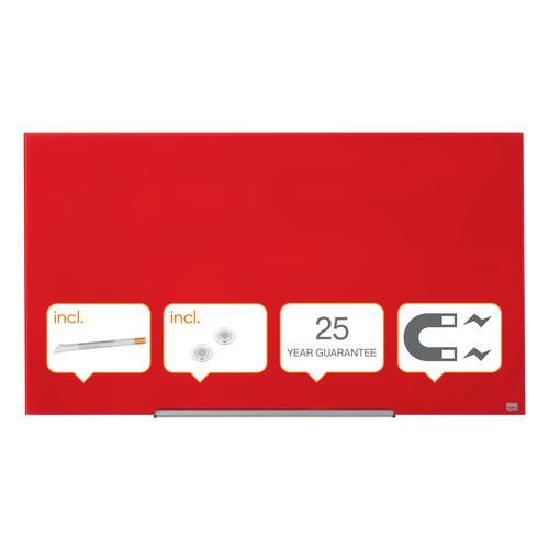 "Nobo Glassboard 1260x711mm Red 57"" Widescreen 1905185 | Glass magnetic whiteboard ultra-erasability | Sleek & stylish | Fusion Office UK"
