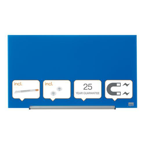 "Nobo Glassboard 680x380mm Blue 31"" Widescreen 1905187   Glass magnetic whiteboard ultra-erasability   Sleek & stylish   Fusion Office UK"