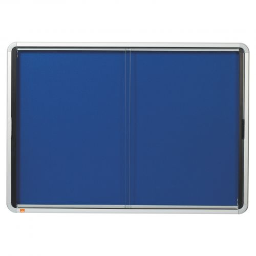 Nobo 8xA4 Blue Felt Lockable Notice Board 1902565   Lockable notice board with a hinged safety glass door and side lock   Fusion Office UK