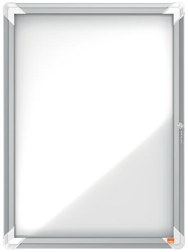 Nobo 4xA4 Outdoor Magnetic Lockable Board 1902577   Outdoor weatherproof lockable notice board with a safety glass door   Fusion Office UK
