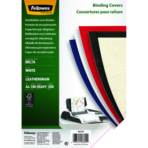 Fellowes Leathergrain Binding Covers White A4 [Pack 100] 5370104 | Perfect for use as front/rear covers | Fusion Office