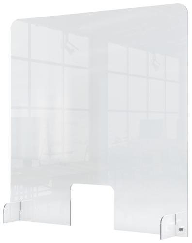 Nobo Plexiglass Counter Screen with hole 700x850mm 1915488   Screen height is 1m; providing a high level of protection   Fusion Office UK