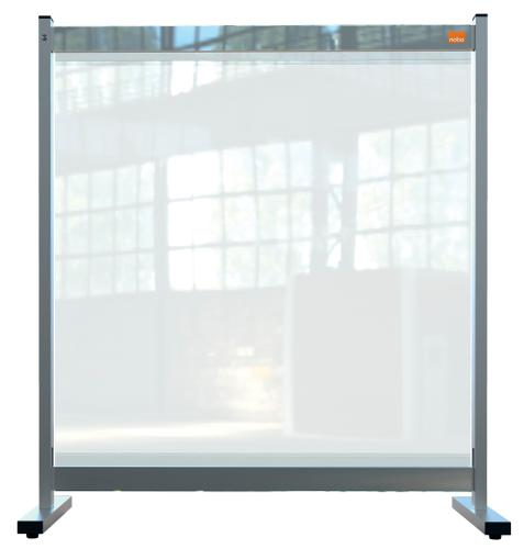 Nobo Desk Screen 770x860mm Clear PVC 1915547   Heavy duty 500 micron PVC screen with weather resistant powder coated frame   Fusion Office UK
