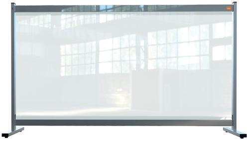 Nobo Desk Screen 1470x860mm Clear PVC 1915548   Heavy duty 500 micron PVC screen with weather resistant powder coated frame   Fusion Office UK