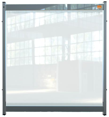 Nobo Desk Screen Extender 750x820mm Clear PVC 1915550   Heavy duty PVC screen with weather resistant powder coated frame   Fusion Office UK